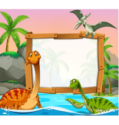 border template with dinosaurs in the ocean vector image