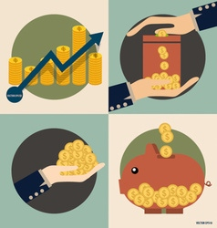 Business concept Hand and Piggy bank with money vector