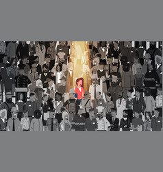 businesswoman leader stand out from crowd vector image