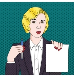 Businesswoman with document and pen vector