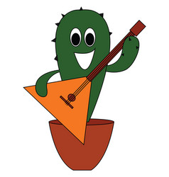 cactus with guitar on white background vector image