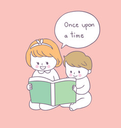 Cartoon cute sister and brother reading book vector