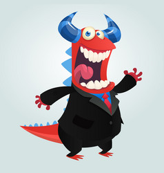 cartoon happy monster businessman vector image