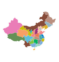 china map with province region flat on white vector image