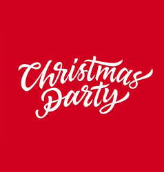 christmas party - hand drawn brush pen vector image