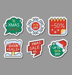 christmas season sale icon sticker set vector image