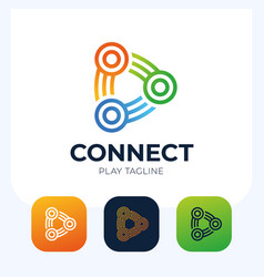 connect play button logo link connection vector image