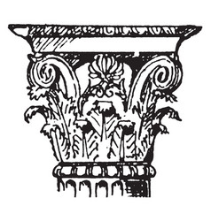 Corinthian capital value vintage engraving vector