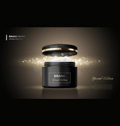 Cosmetic package advertising cream jar premium vector