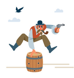 cowboy with a pipe and a bowler hat jumps over vector image