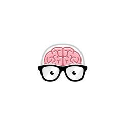 creative brain geek logo vector image