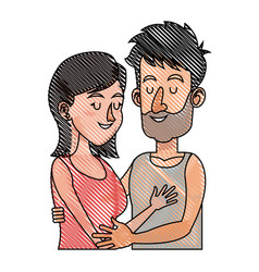 drawing embracing couple relationship together vector image vector image