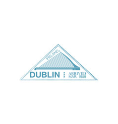 Dublin arrival ink stamp on passport vector