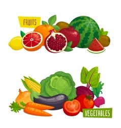 Exotic tropical fruits and fresh vegetables vector image