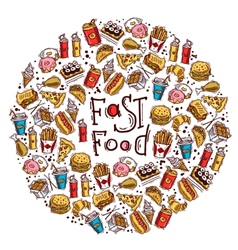 Fast Food Circle vector image
