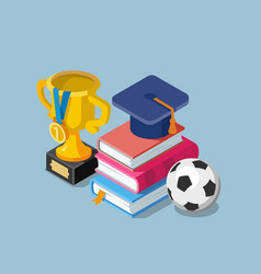 flat education concept with books cup winner and vector image