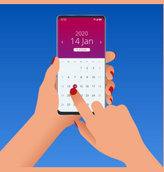 Flat female hand with a smartphone with a calendar vector