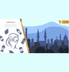 flat islamic culture concept vector image