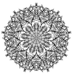 floral circular ornament black and white drawing vector image