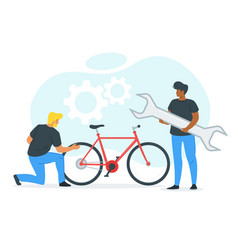 Friends fixing bicycle vector