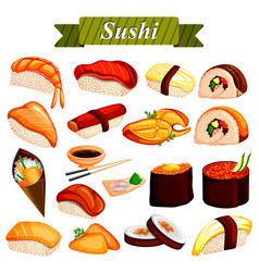 Full collection different variety sushi roll vector