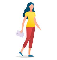 Girl portrait wearing sport leggings and t-shirt vector