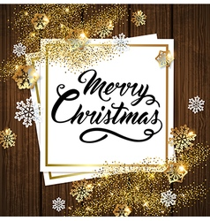 Golden shining Christmas background with snow vector