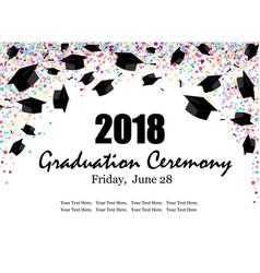 graduate caps with multi colored confetti banner vector image