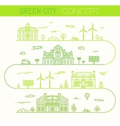 Green city eco infographic ilinear style vector image