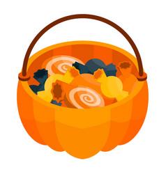 halloween candy basket icon isometric style vector image