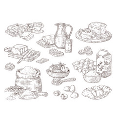 hand drawn bakery goods butter milk eggs and vector image