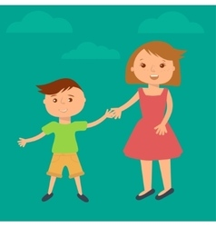 Happy family Brother and sister vector image