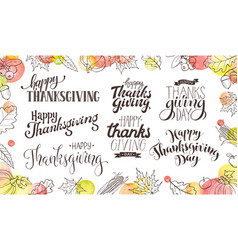 happy thanksgiving wording vector image