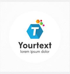 hexagonal letter t logo vector image