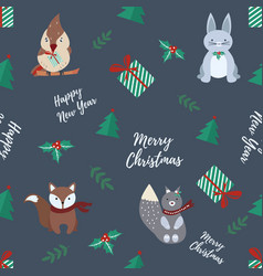 holiday seamless pattern with cute animals vector image