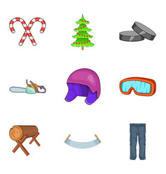 Icy icons set cartoon style vector
