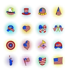 Independence Day icons comics style vector image