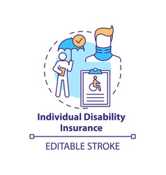 Individual disability insurance concept icon vector