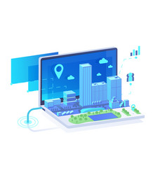 isometric 3d mobile city in laptop with point vector image
