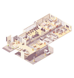 isometric hotel interior vector image