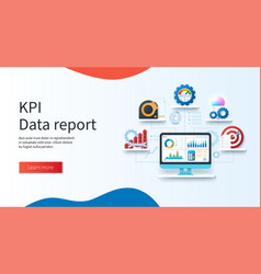 key performance indicator data report banner vector image