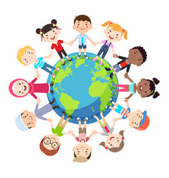 Kids love globe conceptual groups children vector