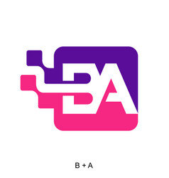 Letter b and a with digital vector