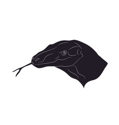 Lizard portrait drawing silhouette vector