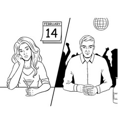 Lonely people on valentine day coloring book vector
