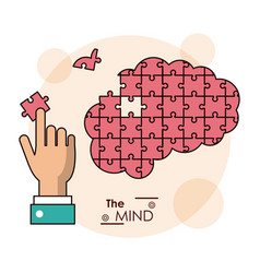 Mind hand brain puzzle piece jigsaw vector