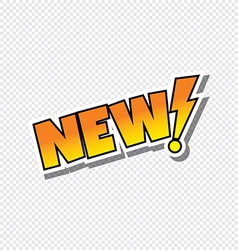 new cartoon text sticker vector image