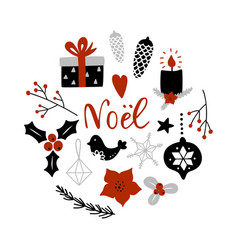 noel merry christmas on french circle vector image