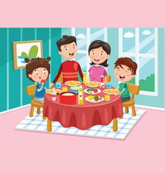 Of family having dinner vector