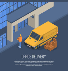 office delivery concept background isometric vector image